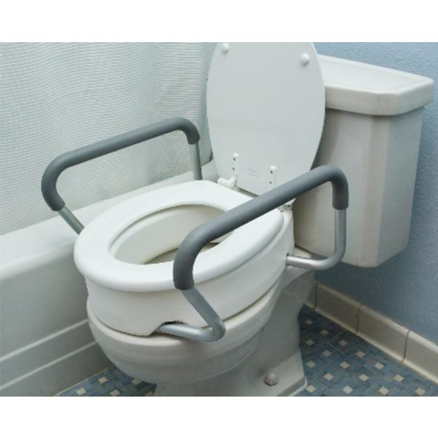 Elongated Toilet Seat Riser with Arms - Essential Medical B5083 Image
